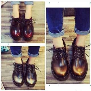 棕金皮革復古鞋