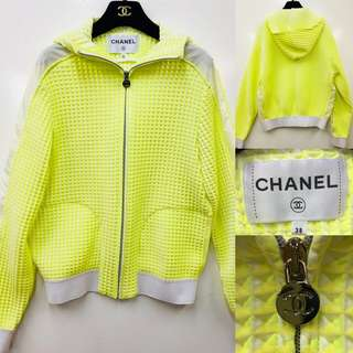 2017 Chanel sharp yellow green and white cardigan size 38