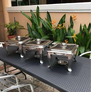 Rental of HALAL chafing dishes, buffet trays / stools / tables / dessert settings / tutu table skirtings / chandeliers and lamps