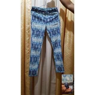 Printed white blue pants