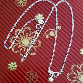 Genuine 925 Sterling Italy Silver Ribbon w/ Stones Necklace