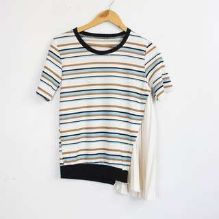Striped Side Pleated Style Shirt Top