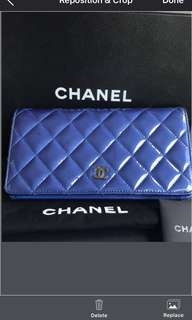 100% Authentic Chanel Yen wallet in patent blue Rrp $1380