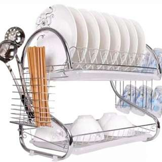 2 tier kitchen dish drying rack with tray
