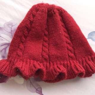 嬰兒捲邊毛帽 0-6m
