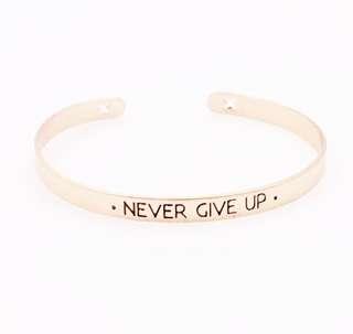 Statement Bracelet Never Give Up Rosel Gold - Gelang Korea