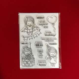 Birthday girl with banner scrapbooking clear stamp