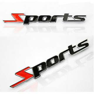 3D High Quality SPORTS Wording Metal Car Emblem Badge