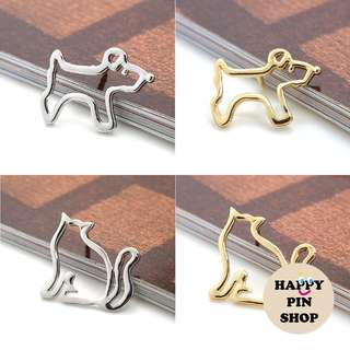🐕🐈 Simple Dog & Cat Outline Metal Pin (two colours - gold & silver)