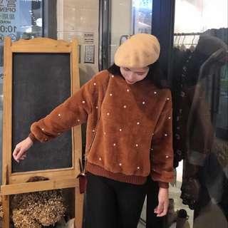 韓版寬鬆焦糖色羊羔毛長袖珍珠上衣 #換季五折