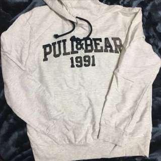 pull&bear洗舊灰白寬鬆長版帽衣#換季五折