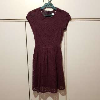 H&M maroon lace dress