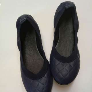 Navy Blue quilted Ballet Shoes