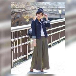 日本人氣品牌Nice Claup  最新款 超顯高百搭雪紡闊腿褲(100%new兩色可選)