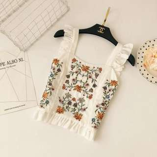 Bohemian Embroidery Crop Top