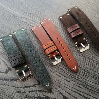 Hand made minimalist leather watch strap