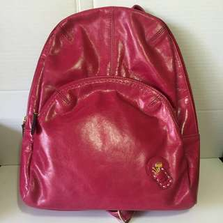 Lightweight calf leather backpack (pink)