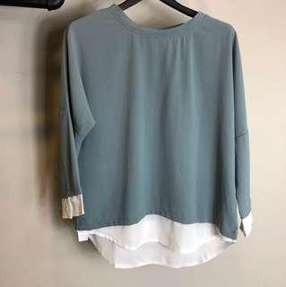 綠色雪紡紗長袖文青氣質短版假兩件上衣
