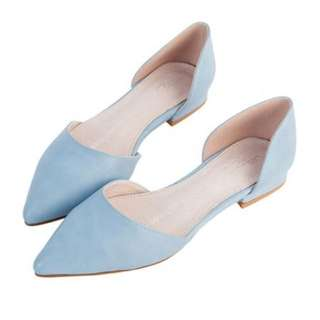 Air Space 5MM系列素色側空尖頭平底鞋(淺藍) 全新