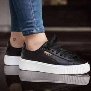 Puma Platform core 黑色白底 蕾哈娜平民版 厚底鬆糕鞋 泫雅