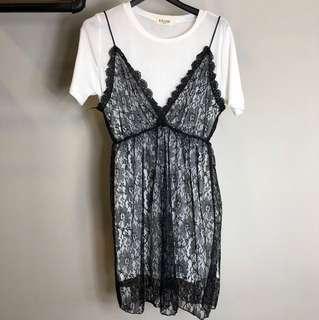 歐美韓系兩件式短袖蕾絲大尺碼文青娃娃孕婦媽媽洋裝上衣