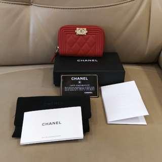 Chanel boy紅色羊皮零錢卡片小手包