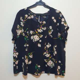 Forever 21+ Plus Size Blue Floral Top