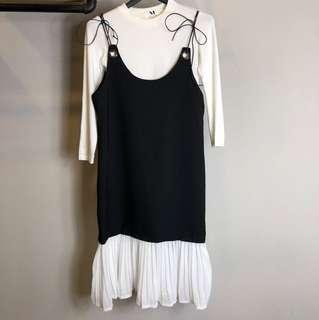 歐美韓系黑色白色真兩件孕婦媽媽長袖魚尾長洋裝文青渡假氣質