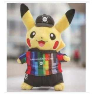 皮卡丘娃娃EXPO道館限定日本精靈寶可夢Pokémon EXPO GYM大阪萬博道館絨毛娃玩偶市價1100元 全新 附吊牌