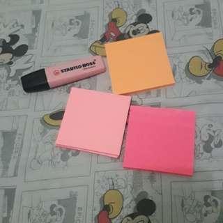 Post it & stabilo pink