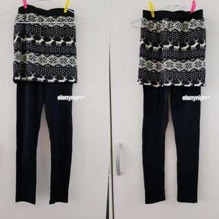 假兩件 褲裙 內搭 長褲 七分褲 裙子 短 北歐圖騰 鹿 幾何 黑 褲子 棉 彈性 休閒 舒適