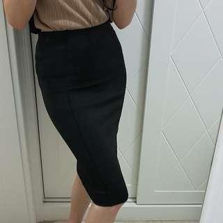 ZARA腰鬆緊高腰過膝黑色窄裙S號