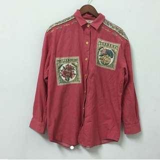 古著 復古紅襯衫 oversize