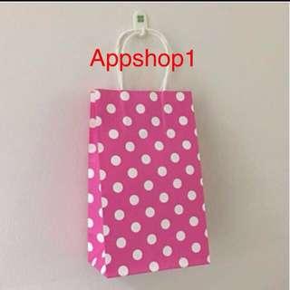 Paper bag- Polka dot pink paper bag for goodies bag, goody bag packages