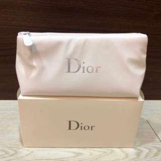 便宜賣正品全新Dior 迪奧Logo炫采化妝包 白