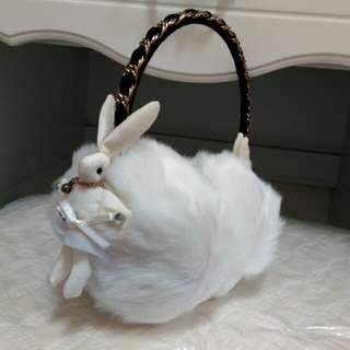兔子金屬鏈帶造型毛絨耳罩
