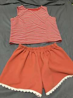 Terno good quality crop top and laced short (preloved)