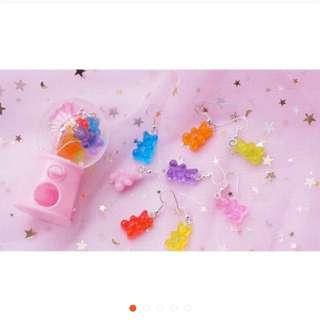 小熊軟糖耳環 原宿可愛風 粉色