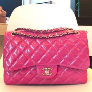 Chanel jumbo size double flap shocking pink chain bag backpack Woc clutch wallet 鏈袋 背包 背囊