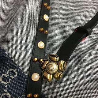近全新 Gucci 珍珠皮帶 腰帶