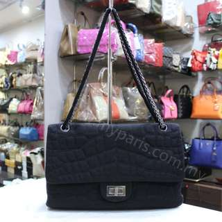 Chanel Black Croc-Embossed Jersey Jumbo Reissue 227 Double Flap Bag