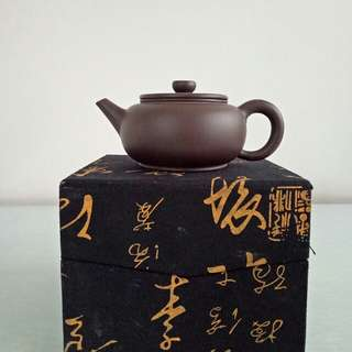 80s Chinese Zisha teapot height 6cm diameter 5.5cm mint condition  with box and dust bag