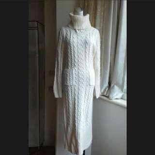 韓版 高領 麻花 針織彈性洋裝
