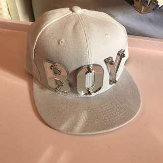 White Mirror Acrylic 'BOY' Snapback Cap Hat