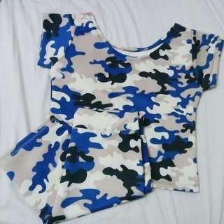 Blue military terno