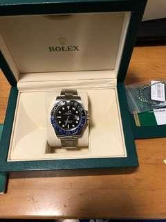 勞力士Rolex blnr batman 藍黑圈90%new 888 行貨 full set