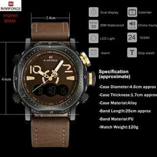 jam Naviforce 9094#1  Kwalitas  original,   tali kulit 3 warna dalaman 3 warna Tgl-Am-Pm aktif water resistant,  garansi mesin 1 thn, Free box  Berat 300gr  H 300rb