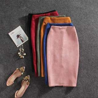 [READY STOCK] Colourful Suede Pencil Skirt