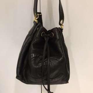 Chanel vintage 羊皮手提&肩背雙帶兩用水桶包