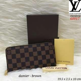 Dompet LV N60017#1   Kwalitas  premium,  bahan kulit baguss warna brown  motif Damier 6 poket 1 poket resleting tempat coin tempat kartu 8, free box  Berat 400gr  H 290rb